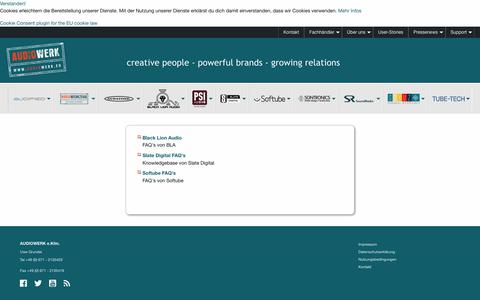 Screenshot of FAQ Page audiowerk.eu - Audiowerk: FAQ - captured Oct. 29, 2018