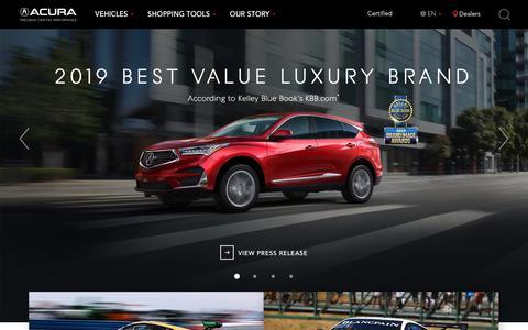 Screenshot of Home Page acura.com - Luxury Sedans and SUVs | Acura.com - captured June 25, 2019