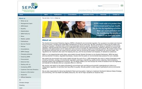 Screenshot of About Page sepa.org.uk - Scottish Environment Protection Agency : About us - captured Oct. 31, 2014