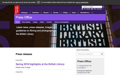 Screenshot of Press Page bl.uk - Press Office Home | The British Library   - The British Library - captured Jan. 13, 2016