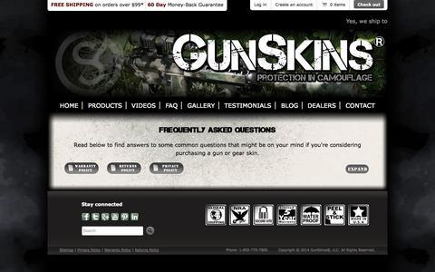 Screenshot of FAQ Page gunskins.com - GunSkins   Frequently Asked Questions - captured Sept. 19, 2014