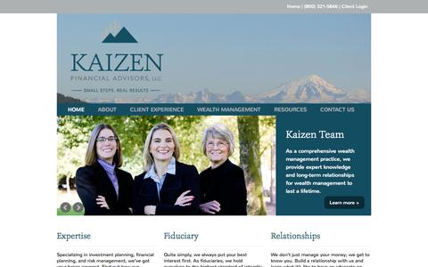 Screenshot of Home Page kaizenfa.com - Home | Kaizen Financial Advisors - captured Jan. 25, 2015