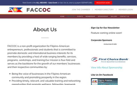 Screenshot of About Page faccoc.org - About Us - captured Oct. 13, 2017