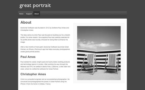 Screenshot of About Page deckchairsoftware.com - Great Portrait by Deckchair Software - About - captured Oct. 5, 2014