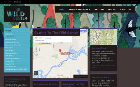 Screenshot of Maps & Directions Page wildcenter.org - Directions | Wild Center - captured Feb. 16, 2016