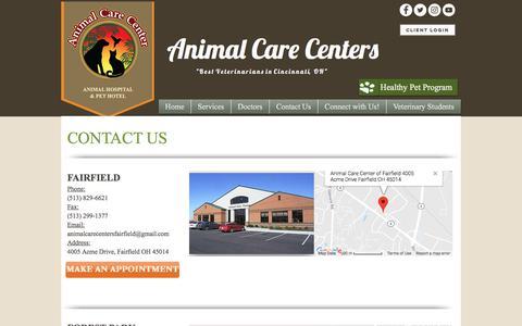 Screenshot of Hours Page animalcarecenters.net - Animal Care Centers Cincinnati Contact Us - captured July 2, 2018