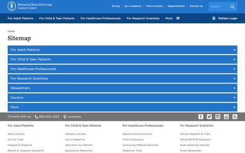 Screenshot of Site Map Page mskcc.org - Sitemap | Memorial Sloan Kettering Cancer Center - captured Oct. 23, 2017