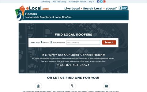 Screenshot of Home Page elocalroofers.com - Find Local Roofers | #1 Roofer Directory | Get Roofing Quotes - captured Jan. 28, 2015