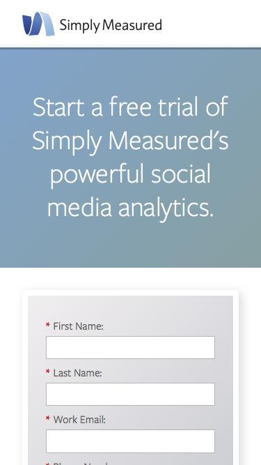 Screenshot of Trial Page  simplymeasured.com -