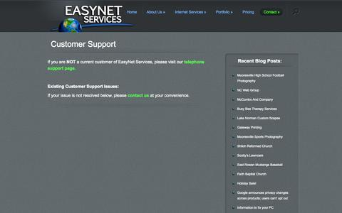 Screenshot of Support Page easynetservices.com - customer support in Mooresville, NC from EasyNet Services   website design in Mooresville, NC - - EasyNet Services - captured Oct. 22, 2014