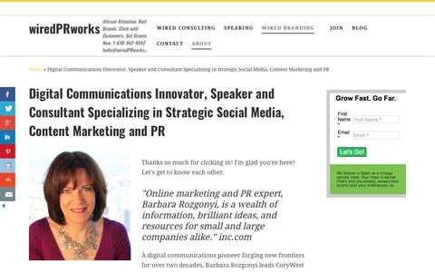 Screenshot of About Page wiredprworks.com - Social Media, Content Marketing and Digital PR Consultant - captured Jan. 10, 2018