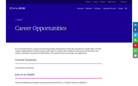 Screenshot of Jobs Page chubb.com - Career Opportunities at Chubb, Australia - captured March 9, 2018