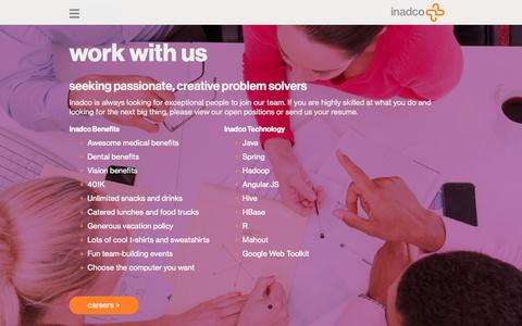 Screenshot of Jobs Page inadco.com - careers | inadco – always looking for creative problem solvers - captured Sept. 16, 2014