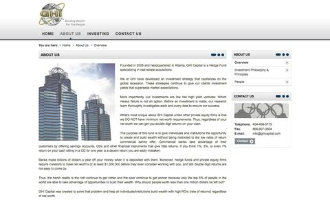 Screenshot of About Page ghicapital.com - GHI Capital - About Us - captured Oct. 1, 2014