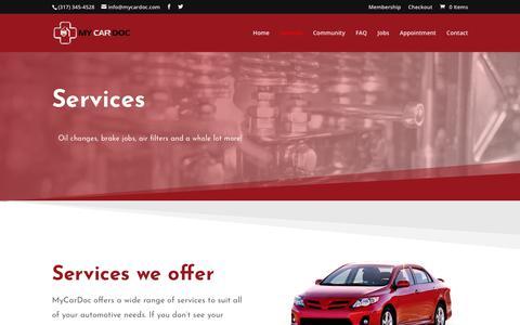 Screenshot of Services Page mycardoc.com - Services | My Car Doc - captured Nov. 18, 2018