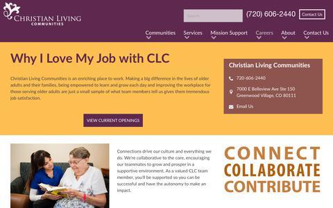 Screenshot of Jobs Page christianlivingcommunities.org - Careers at Christian Living Communities - captured July 17, 2018