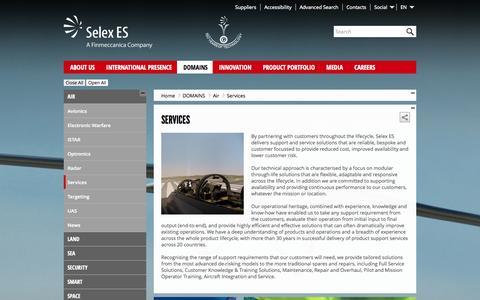 Screenshot of Services Page selex-es.com - Services - Selex ES - captured Sept. 19, 2014