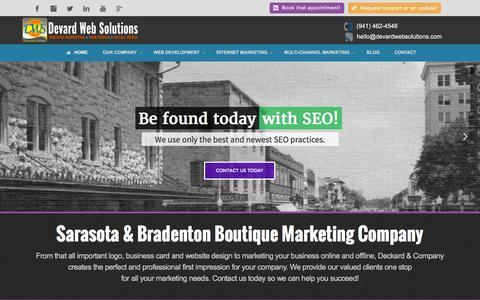 Screenshot of Home Page devardwebsolutions.com - Sarasota, Bradenton Website Design, SEO Marketing Company - captured Aug. 1, 2016