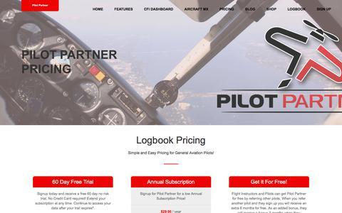 Screenshot of Pricing Page pilotpartner.net - Pricing - Pilot Partner - captured July 9, 2018