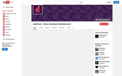 Screenshot of YouTube Page youtube.com - Jackfroot - Asian American Entertainment  - YouTube - captured Oct. 23, 2014