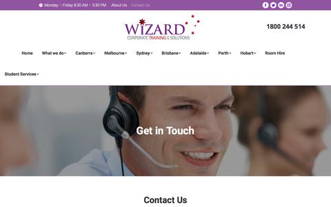 Screenshot of Contact Page wizardcorporatetraining.com.au - Contact Us | Wizard Corporate Training & Solutions - captured July 7, 2018