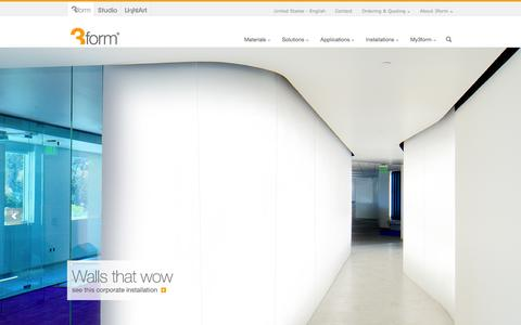 Screenshot of Home Page 3-form.com - 3form | Material Solutions - captured Sept. 19, 2014