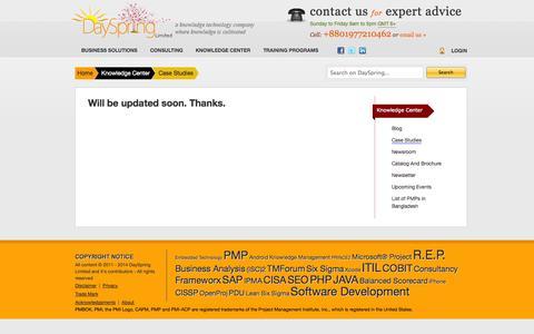 Screenshot of Case Studies Page dayspringltd.com - Case Studies   DaySpring Limited - first and only PMI R.E.P. in Bangladesh - captured Oct. 5, 2014