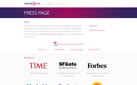 Screenshot of Press Page catalogspree.com - Press corner | Catalog Spree - captured July 18, 2014