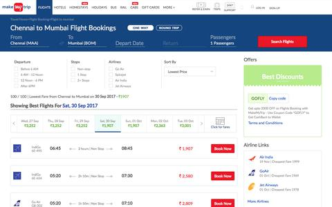 100 Flights Chennai to Mumbai Fares @Rs.1907+ 2000 OFF (upto)