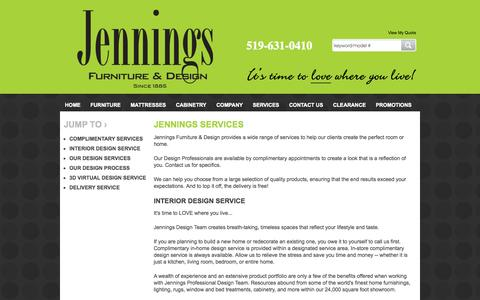 Screenshot of Services Page jenningsfurniture.com - Furniture, Mattresses, Cabinetry in London, St Thomas and Sarnia ON  | Jennings Furniture - captured Oct. 6, 2014