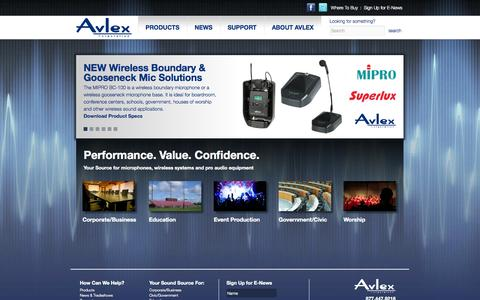 Screenshot of Home Page avlex.com - Avlex.com | Performance. Value. Confidence. - captured Oct. 4, 2014