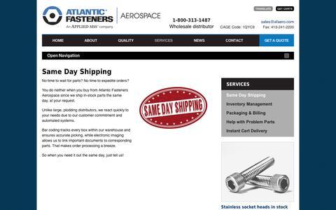 Screenshot of Services Page afaero.com - Atlantic Fasteners Aerospace |   Same Day Shipping - captured Nov. 21, 2016