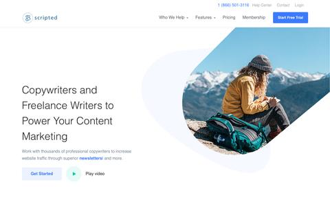 Screenshot of Home Page scripted.com - Copywriters and Freelance Writers for Hire | Scripted - captured Aug. 6, 2018