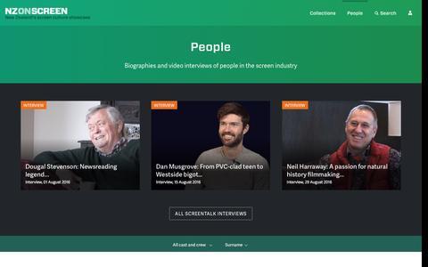 Screenshot of Team Page nzonscreen.com - People | NZ On Screen - captured Sept. 5, 2016