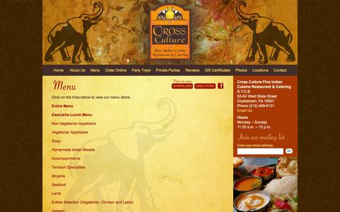 Screenshot of Menu Page crosscultureindiancuisine.net - Our Menu | Cross Culture Fine Indian Cuisine Restaurant and Catering | Doylestown, PA - captured June 19, 2016