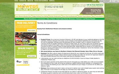 Screenshot of Terms Page mowers-online.co.uk - Information - Cheltenham Mowers Ltd - captured Sept. 28, 2016