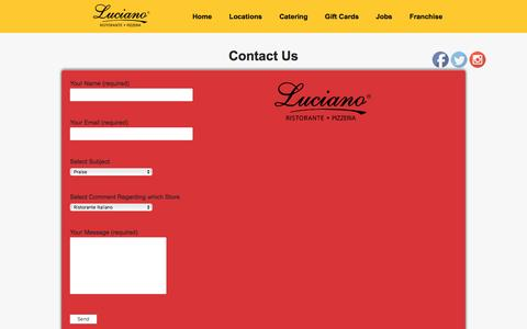 Screenshot of Contact Page lucianorestaurants.com - Message - Luciano Restaurants Luciano Restaurants - captured May 22, 2017