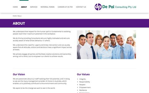 Screenshot of About Page depoiconsulting.com - Workplace Injury Management Specialists - captured Oct. 5, 2014