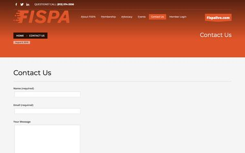 Screenshot of Contact Page fispa.org - Contact Us - FISPA - captured Aug. 9, 2018
