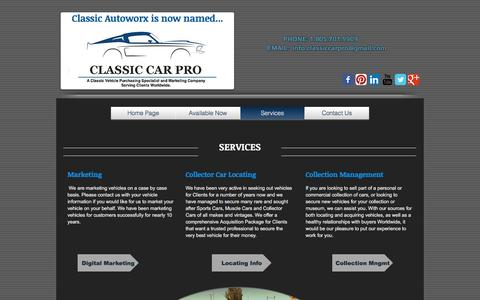Screenshot of Services Page classicautoworx.com - Client Services - captured May 18, 2017