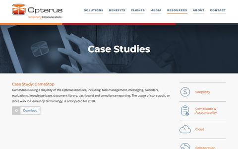 Screenshot of Case Studies Page opterus.com - Case Studies | Opterus - Retail Task Management | Store Execution Management Solutions | Retail Store Portal | Store Communications | Retail Compliance | Document Control - captured Jan. 11, 2020