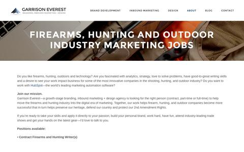 Screenshot of Jobs Page garrisoneverest.com - Firearms, Hunting and Outdoor Industry Marketing Jobs - captured Dec. 28, 2016