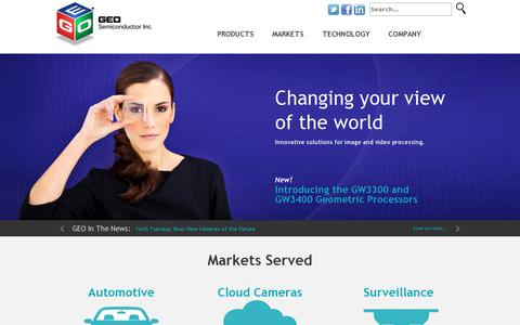 Screenshot of Home Page geosemi.com - GEO Semiconductor, Inc. - captured July 10, 2014