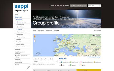 Screenshot of Locations Page sappi.com - Locations - captured Sept. 24, 2014