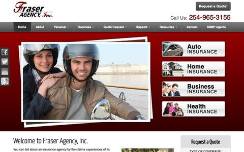 Screenshot of Home Page fraseragency.com - Auto, Home, Business, Life, Health Insurance in Fort Worth and Stephenville Texas - Fraser Agency, Inc. - captured Nov. 9, 2018