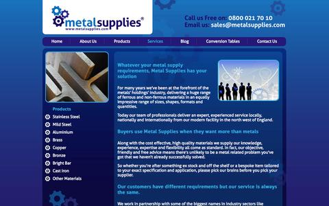 Screenshot of About Page metalsupplies.com - About Metal Supplies - Leading UK Supplier with Superior Service - captured Oct. 27, 2014