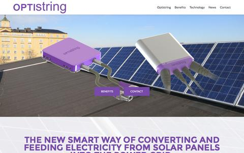 Screenshot of Home Page optistring.com - Optistring Technologies | The new smart PV inverter - captured Feb. 14, 2016