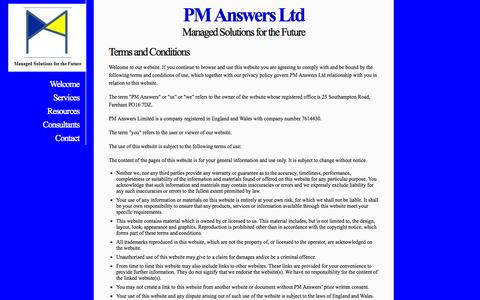 Screenshot of Terms Page pm-answers.com - PM Answers Ltd - Terms & Conditions - captured Oct. 1, 2014