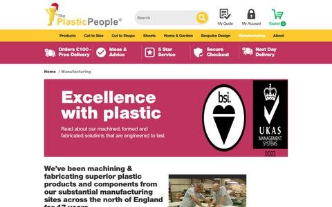 Screenshot of Services Page theplasticpeople.co.uk - Manufacturing - The Plastic People - captured Jan. 2, 2018