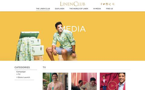 Screenshot of Press Page linenclub.com - Media - Linen Club | TVC | Commercial Videos - captured July 20, 2018